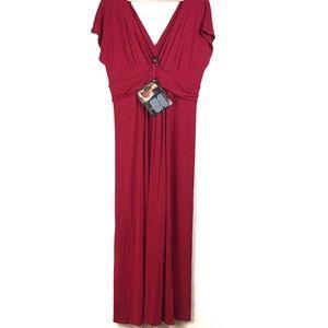 IMAN Red Deep V-Neck Cap Sleeve Maxi Dress